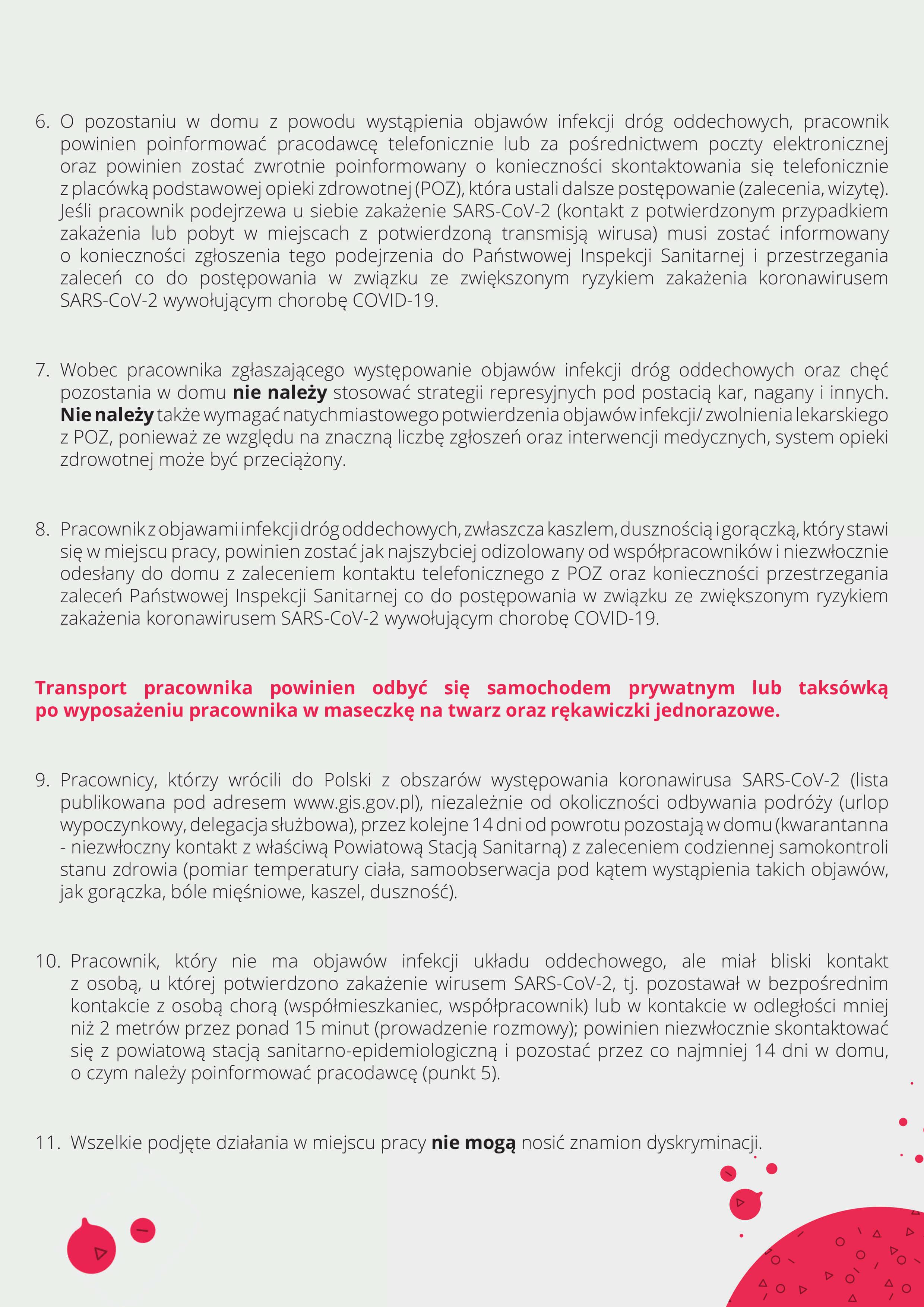 zalecenia dla pracodawców, Tymczasowe zalecenia dla pracodawców wzwiązku zkoronawirusem SARS-COV-2