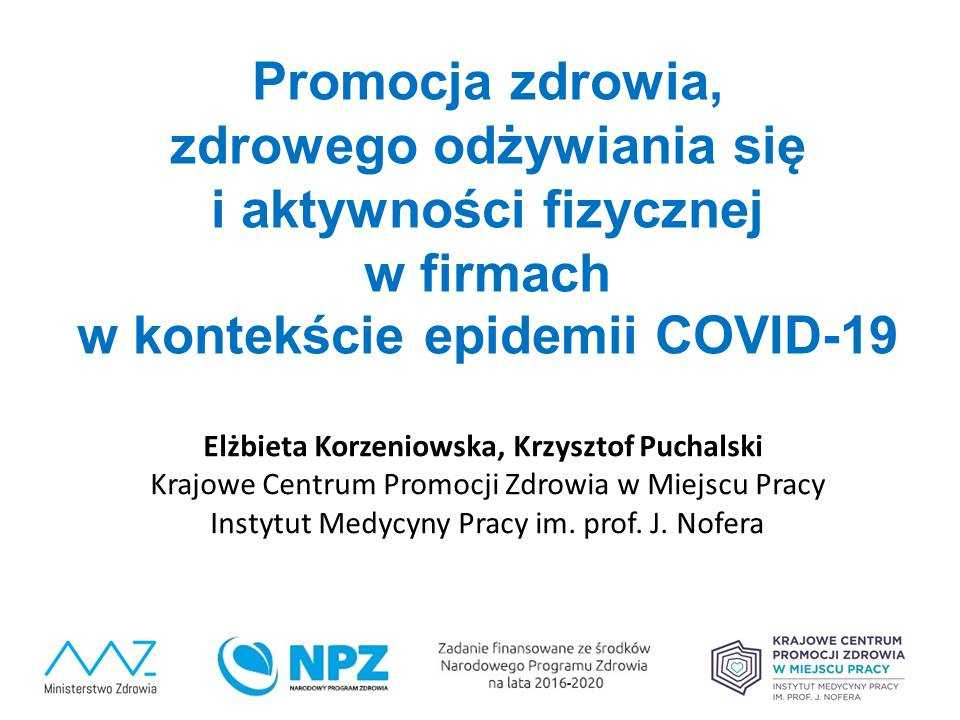 Promocja zdrowia, zdrowego odżywiania się iaktywności fizycznej wfirmach wkontekście epidemii COVID-19